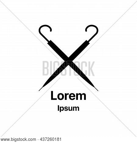 Big Screen Crook Gamp On White. Folded Umbrellas Black Icon. Trendy Flat Isolated Outline Symbol, Si