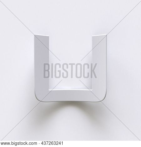 Bent Paper Font With Long Shadows  Letter U 3d Render Illustration Isolated On Gray Background