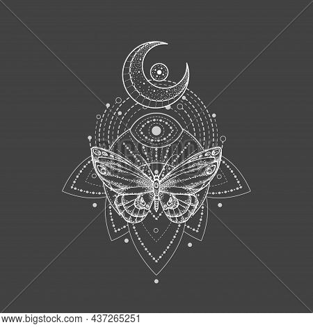 Vector Illustration With Hand Drawn Butterfly And Sacred Geometric Symbol On Black Background. Abstr