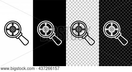 Set Line Target Financial Goal Concept With Magnifying Glass Icon Isolated On Black And White, Trans