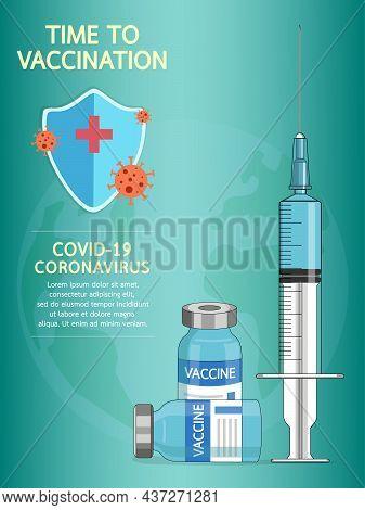 Coronavirus Vaccine Disease Covid-19. Syringe And Vaccine Vial Injection Tool For Covid 19 Immunizat