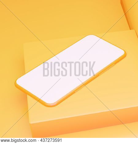 The Mockup Of The Phone Lies On A Geometric Square Shape With An Empty White Screen. 3d Rendering