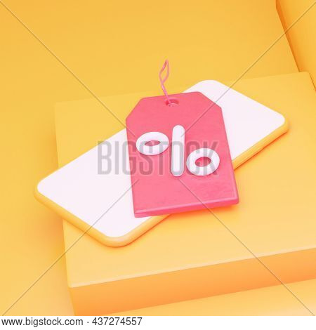 A Tag With Interest On The Phone On The Table. 3d Rendering. Square Format