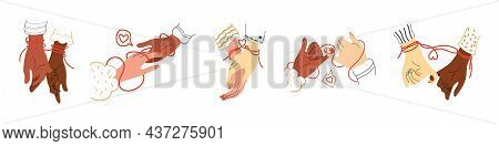Multinational Hands Of Couple With Red String Of Fate, Faith Or Destiny. Arms Of Different Skin Colo
