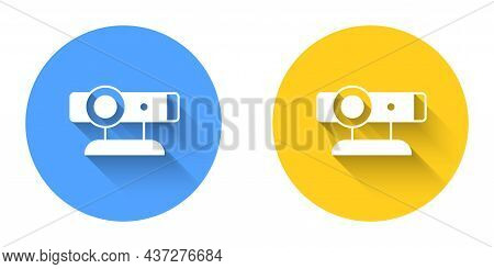 White Web Camera Icon Isolated With Long Shadow Background. Chat Camera. Webcam Icon. Circle Button.