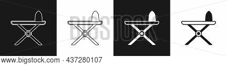 Set Electric Iron And Ironing Board Icon Isolated On Black And White Background. Steam Iron. Vector