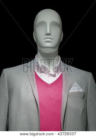 Mannequin In Light Gray Jacket & Red Sweater