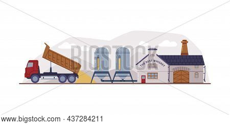 Whiskey Production Process With Factory, Lorry And Storage In Tank Vector Illustration