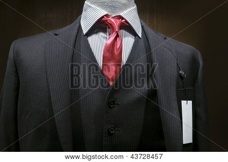Dark Gray Striped Suit With A Blank Tag