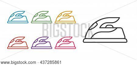 Set Line Electric Iron Icon Isolated On White Background. Steam Iron. Set Icons Colorful. Vector