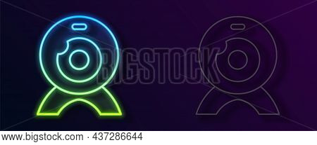 Glowing Neon Line Web Camera Icon Isolated On Black Background. Chat Camera. Webcam Icon. Vector