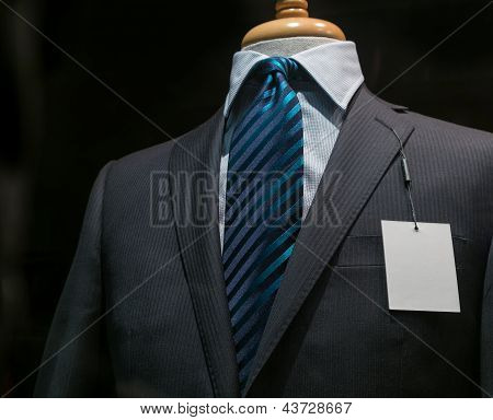Dark Gray Striped Jacket With A Blank Tag (horizontal)