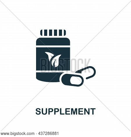 Supplement Icon. Monochrome Sign From Gym Collection. Creative Supplement Icon Illustration For Web