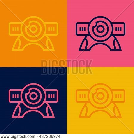 Pop Art Line Web Camera Icon Isolated On Color Background. Chat Camera. Webcam Icon. Vector