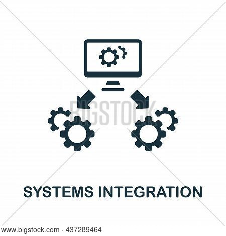 Systems Integration Icon. Monochrome Sign From Industry 4.0 Collection. Creative Systems Integration