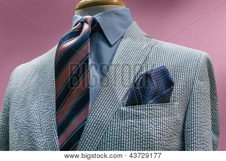 White & Blue Striped Jacket With Striped Tie