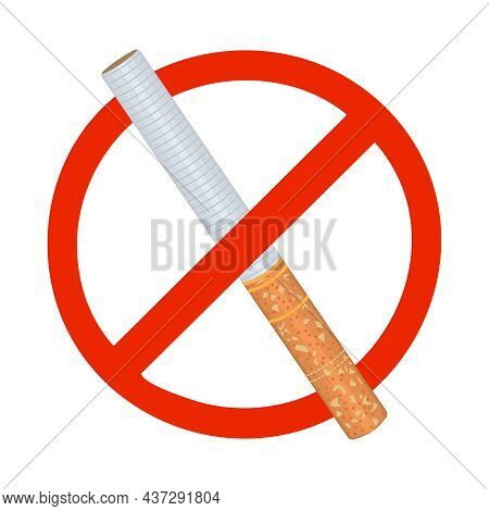 No Smoking Sign Isolated On White Background. Forbidden Smoking Zone Signboard. Red Circle Mark With