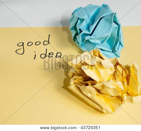 Crumpled yellow and blue papers