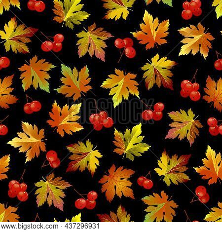 Pattern With Leaves And Berries.autumn Leaves And Red Berries On A Black Background In A Seamless Ve