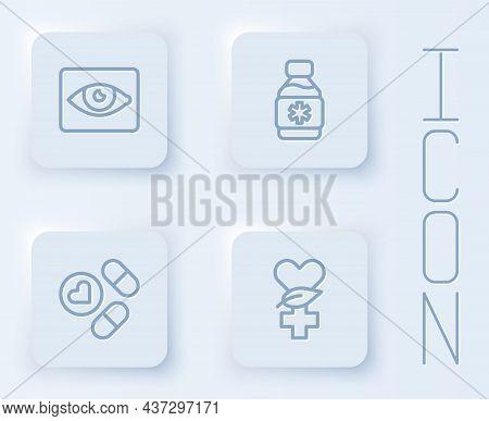 Set Line Red Eye Effect, Bottle Of Medicine Syrup, Medicine Pill Or Tablet And Ethnoscience. White S