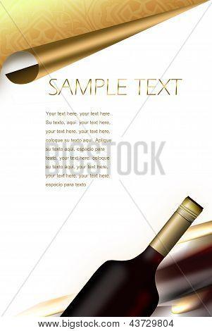 Illustrated Wine Bottle. Drinks Menu