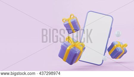 Blue Flying Gifts With Yellow Bows With A Mobile Phone Mockup, With An Empty White Screen. 3d Render