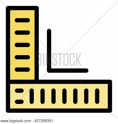 Tiler Angle Ruler Icon. Outline Tiler Angle Ruler Vector Icon Color Flat Isolated