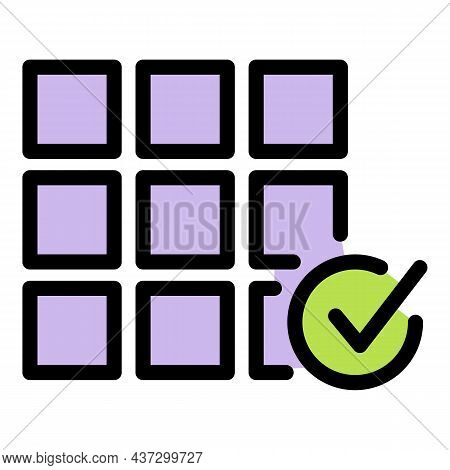 Tiler Work Done Icon. Outline Tiler Work Done Vector Icon Color Flat Isolated