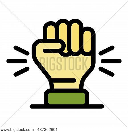 Responsibility Fist Icon. Outline Responsibility Fist Vector Icon Color Flat Isolated