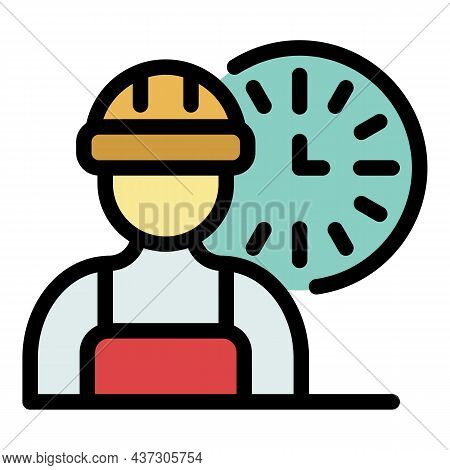 Fast Time Repairman Icon. Outline Fast Time Repairman Vector Icon Color Flat Isolated