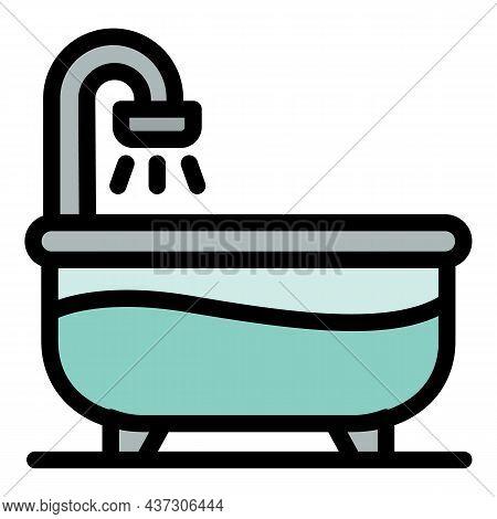 Half Water Bathtub Icon. Outline Half Water Bathtub Vector Icon Color Flat Isolated