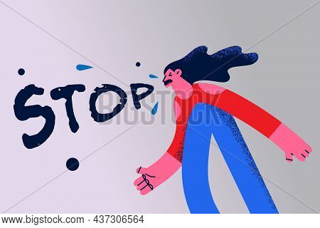Stop Conflict And Emotions Concept. Young Stressed Emotional Woman Cartoon Character Standing And Sc