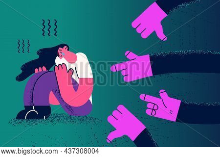 Depression And People Influence Bullying Concept. Human Hands Pointing At Sad Depressed Crying Sitti