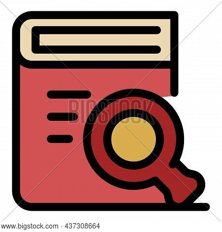Book And Magnifier Icon. Outline Book And Magnifier Vector Icon Color Flat Isolated