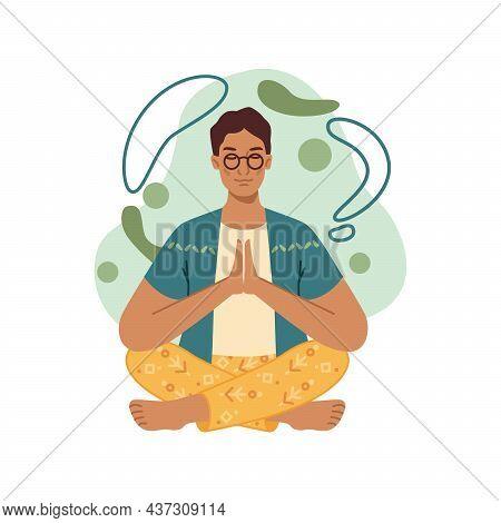 Yoga Meditation, Man Sits In Lotus Pose Meditating, Balance And Spiritual Energy, Stress Control. Ve