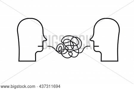 Broken Communication Two Person Concept Illustration Hand Draw Line Style. Hard Speaking, Abusing Ta