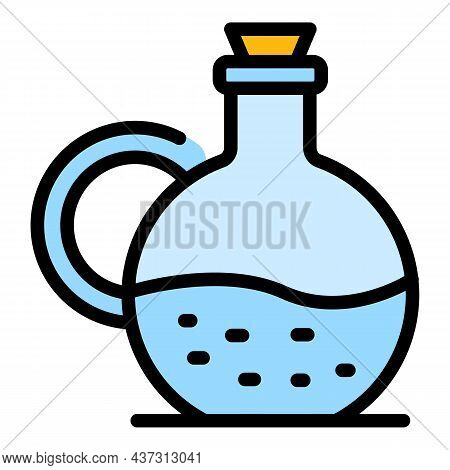 Carafe With Liquid Icon. Outline Carafe With Liquid Vector Icon Color Flat Isolated