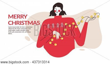 Christmas Woman With Garland And Baubles. Christmas And New Year Preparations Banner, Flyer, Landing