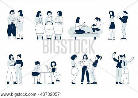 Female Friendship. Friends On Break, Girlfriends Enjoying Conversation. Young Mother Walking, Girls