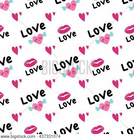 Seamless Pattern With Hearts With Wings, Lips And Word Love. Holiday Decoration, Valentine Day Print