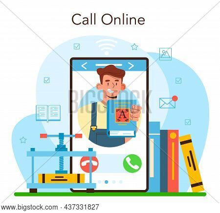 Book Binding Online Service Or Platform. Printing House Technology