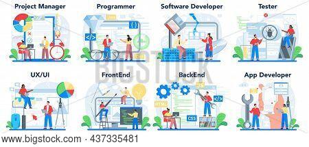 Web Development Concept Set. Programming, Coding And Presenting