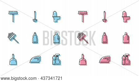 Set Line Dustpan, Electric Iron, Squeegee, Scraper, Wiper, Plastic Bottles For Liquid Dishwashing Li