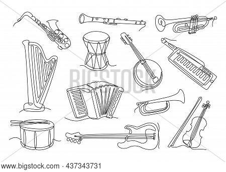 Line Musical Instruments. Continuous Line Drums Guitar Violin Saxophone Trumpet Horn Harp Banjo Clar