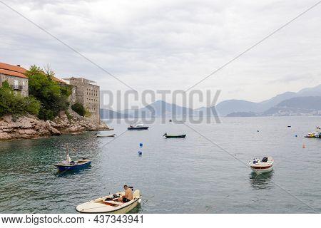 Sveti Stefan, Montenegro- September, 2021: Sea Island  Summer With Beach (montenegro, 6 Kilometers S