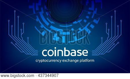 Coinbase Cryptocurrency Exchange Platform Name With Digital Circle And Pcb Tracks On Dark Blue Backg