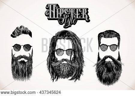 Hipster Style Hair Beards Barbershop Fashion Gentleman Tattoo Engraving Hair