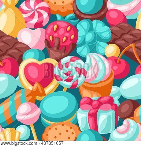 Seamless Pattern Various Candies And Sweets. Confectionery Or Bakery Stylized Illustration.