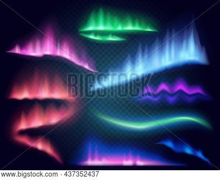 Arctic Aurora Borealis, Vector Polar Lights Set. Northern Polar Lights And Aurora Borealis Glow