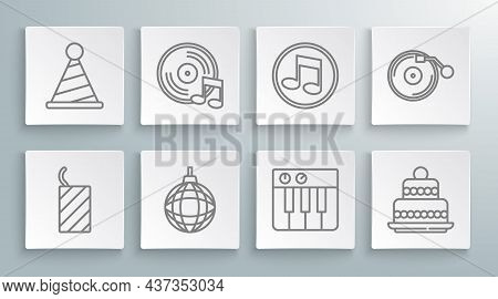 Set Line Firework Rocket, Vinyl Disk, Disco Ball, Music Synthesizer, Cake, Note, Tone, Player With A